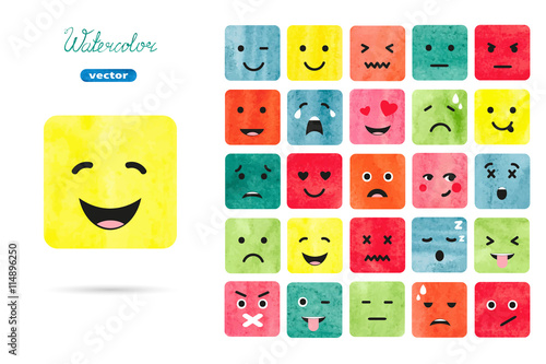 Watercolor emoticons set. Vector collection of emotions symbols. Colorful illustration.