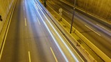 Night traffic on the highway car. Top view. Timelapse