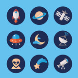 Space icons set in flat style