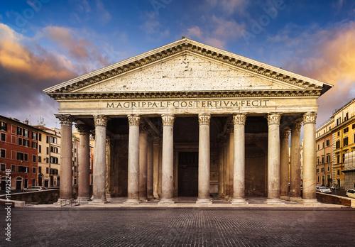 Panteon w nocy, Rzym, Włochy