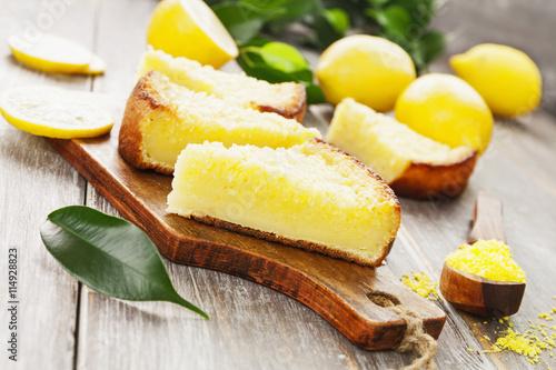 fototapeta na ścianę Lemon pie with yellow coconut