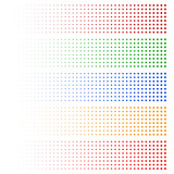 Halftone elements. Fading circles in 5 colors.
