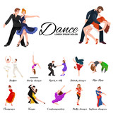 Dancing People, Dancer Bachata, Hiphop, Salsa, Indian, Ballet, Strip, Rock and Roll, Break, Flamenco, Tango, Contemporary, Belly Dance Pictogram Icon. Dancing style of design concept set