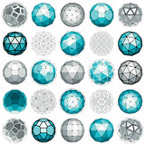 Fototapety Set of perspective technology shapes, polygonal wireframe object