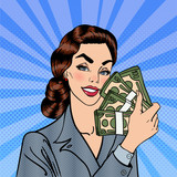 Excited Business Woman Holding Dollar Bills in her Hand. Smiling Woman with Money. Pop Art. Vector illustration
