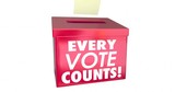 Every Vote Counts Matters Ballot Box 3d Animation