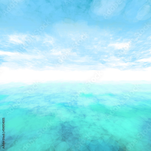 Foto op Canvas Groene koraal Vector abstract cloud and ocean background.