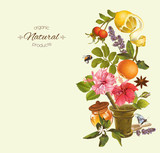 Vector vintage vertical banner with fruits, flowers and mortar. Design for tea, natural cosmetics, health care products. With place for text.