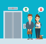 businessman and businesswoman waiting elevator concept illustration