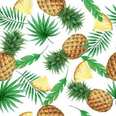 Watercolor seamless pattern with fresh pineapples.
