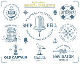 Vintage nautical stamps set. Old ship retro style. Sailing labels, emblems illustration. Nautical graphic symbols - rope, wind rose, lighthouse. Vector nautical sketch design. Adventure lifestyle