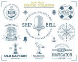 Vintage nautical stamps set. Old ship retro style. Sailing labels, emblems illustration. Nautical graphic symbols - rope, wind rose, lighthouse. Vector nautical sketch design. Adventure lifestyle