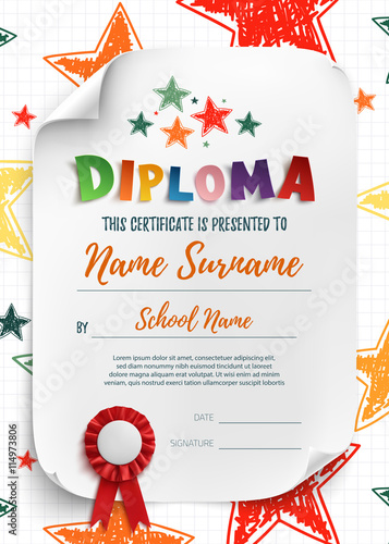 Diploma template with hand drawn stars.
