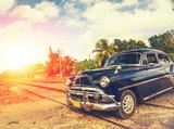classic car in Havana, Cuba, filtered effect