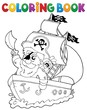 Coloring book ship with pirate 2