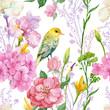 бесшовный узор ,акварель,цветы ,птица