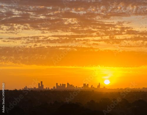 obraz lub plakat Melbourne cityscape at sunset
