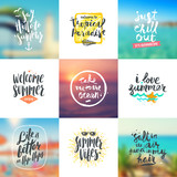 Vector set of summer travel and vacation handwritten calligraphy design on a blurred backgrounds.