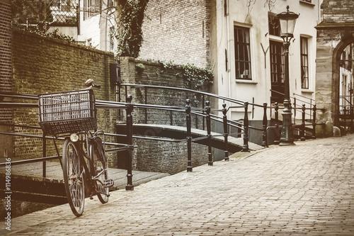 Retro stylu obraz holenderskiego miasta Gouda