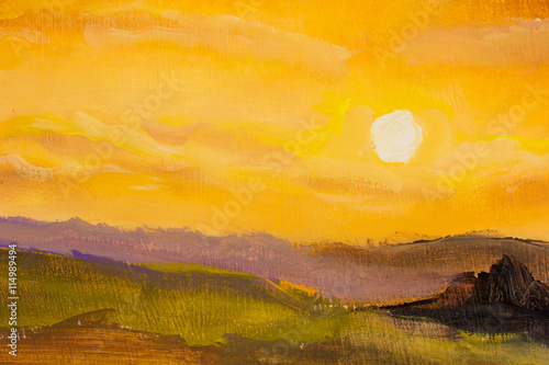 Warm sunset in mountains closeup artistic painting background.