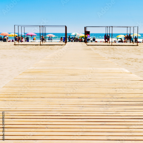 San Antonio Beach in Cullera, Spain Plakat