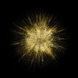 Fototapety Gold glitter powder explosion. Golden color dust splash.