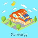 Low-energy house with solar panels. For web design, mobile and application interface, also useful for infographics. Isometric Passive House concept. Vector illustration.