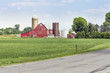 Rural Ohio Road with Old Red Barn and Silos