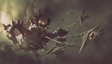 "Постер, картина, фотообои ""battle between spaceships and monster,sci-fi concept illustration painting"""