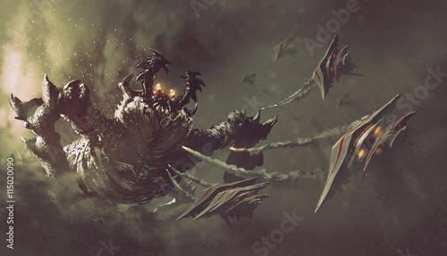bataille-entre-les-vaisseaux-spatiaux-et-monstre-science-fiction-illustration-illustration