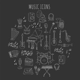 Fototapety Music icon set vector illustrations hand drawn doodle. Musical instruments and symbols piano, guitar, synthesizer, drum set, gramophone, microphone, violin, trumpet, accordion, saxophone, headphones.