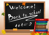 Blackboard. Back to school. Chalkboard with lettering, books and autumn leaves. Vector illustration