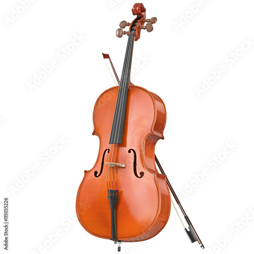 Fototapeta Classic wooden cello with brown bow. 3D graphic