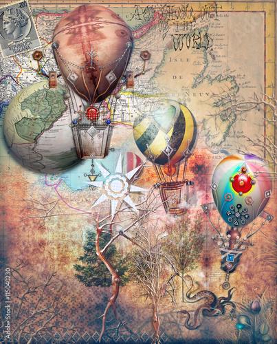 Mongolfiere steampunk su sfondo retro'