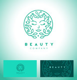 Fototapety Abstract beauty symbol for hair salon or organic cosmetics. Vector logo design template in trendy linear style with female face monogram.