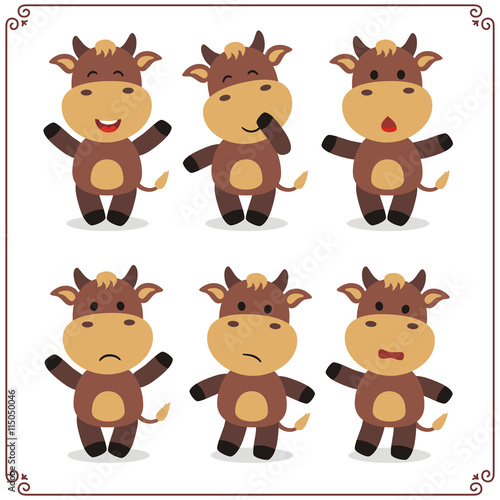 mata magnetyczna Set Vector Illustrations isolated emotion character cartoon little cow. Stickers emoticons cow with different emotions. Icon emotion funny cow. Emoji cow