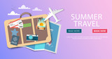 Trip to World. Travel to World. Vacation. Road trip. Tourism. Travel banner. Journey. Travelling illustration. Modern flat design. EPS 10. Colorful.