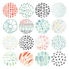 Hand drawn circular textures and grunge doodle elements. Good for creative and greeting cards, posters, flyers, banners and covers.