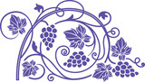 Wine theme design element with grape branches.