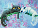 Fototapety an original painting on canvas of white and black funny cats with big eyes, joy and happy mood, part of collection..