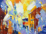 an original oil painting on canvas cubism style, parto of cubism landscapes collection, jut and ordinary day in the city, urban, city life,. - 115059065