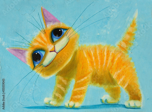 Fototapeta an original painting on canvas orange funny cat with big eyes, joy and happy mood, part of collection.
