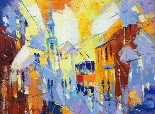 Obraz na Szkle an original oil painting on canvas cubism style, parto of cubism landscapes collection, jut and ordinary day in the city, urban, city life,.