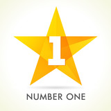 Number one star logo. Vector sign Number One 1 first place winner in yellow facet star - 115059604
