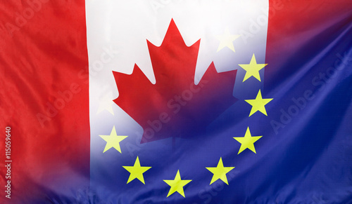 Foto op Canvas Canada European Flag merged with Flag of Canada