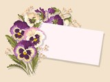Vintage card with pansies