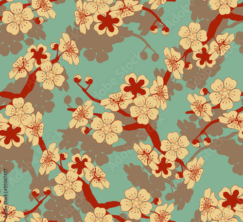Cotton fabric a Japanese style seamless tile with a cherry tree branch and flowers pattern in ivory and blue and red