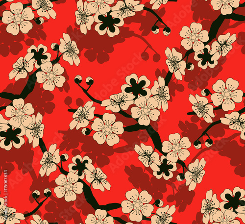 Cotton fabric a Japanese style seamless tile with a cherry tree branch and flowers pattern in black, red and ivory
