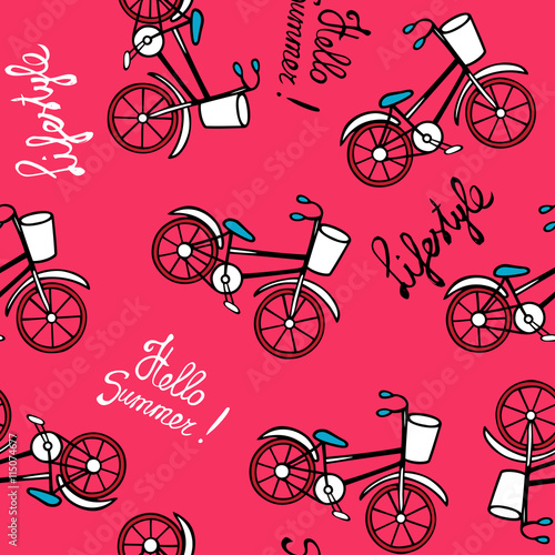 Cotton fabric Pink pattern with retro bicycles.