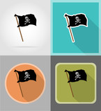 pirate flag flat icons vector illustration